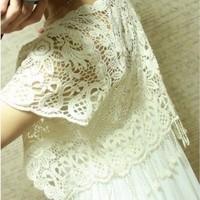 2014 New Summer Lace Crochet Tassel Cutout Small Vest Shrug Cape Women's Short Jacket Crotch Cape Female hot