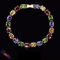Classic Venus Colorful Charm AAA+ Oval Swiss Cubic Zirconia Strand Bracelet