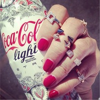 Personality 5pcs/set Multi Styles Crystal Rivet/Sieve Fashion Ring POP Europe Brand Rings Set Excellent Gift Female
