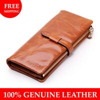 Borgasets Women Wallets 100% Genuine Leather High Quality 6 Colors Fashion Clutch Ladie's Purse Wholesale W035