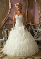 Free Shipping 2014 New Style Applique Organza Sweetheart Ball Gown Bridal Wedding Dress Custom-Made Any Color Size