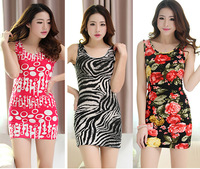New hot sale summer beach dress for women flower Print one-piece party dress slim hip sleeveless mini-dress  850065