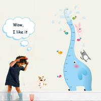 Cartoon Pegatinas Wall Stickers Animals Elephant Birds Dog Cat Height Wall Sticker PVC Removable Wallpaper