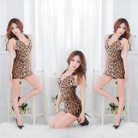 Women's Sexy Leopard Design Lingerie Costume Underwear Bar Uniform Baby Dolls Nightdress