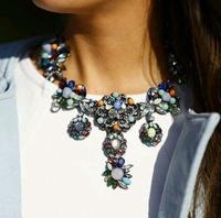 Multicolour Stones Crystal Diamante Necklace 2014 Statement Collar Necklace Fashion Brand Necklace No Min Order Factory Price