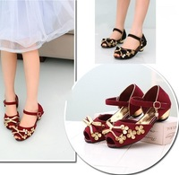 Girls shoes spring 2014 bow female child sandals child high-heeled sandals princess leather