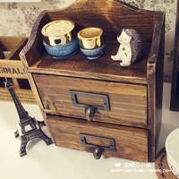 Zakka storage cabinet storage box storage box vintage retro wool finishing double layer cabinet