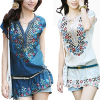 2014 women's bohemia embroidery national trend short-sleeve slim silk blouse plus size
