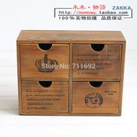 Zakka wool small wooden box vintage retro finishing 4 solid wood drawer cabinet jewelry box classification of storage box