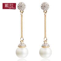 female fashion pearl long design earrings gentlewomen elegant accessories earrings