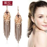 Bohemia big earrings long design elegant tassel drop earring accessories