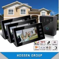 "KEEDOX 1 in 3 out  7"" TFT Wired  Intercom System Video Door Phone Doorbell  With Ir Camera waterproff EU/US/UK Plug"