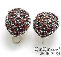 S925 Thai silver earrings pendants earrings palace restoring ancient ways garnet mark earrings