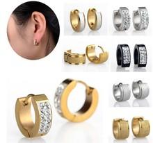 Punk Mens Women 1Pair Crystal Stainless Steel Ear Stud Earrings Gauges NEW[JE01008-JE01010]
