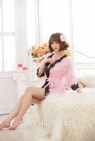 Women's Lace Long Sleeve Night Robe Bathrobe Night Dress Free Shipping