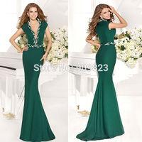 2014 New Designer Deep V Neck With Chain Mermaid Short Sleeves Mermaid Elegant Evening Gowns Dresses New 1489