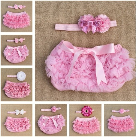 Flower Headband Baby Ruffle Bloomers Pink Chiffon Lace Cotton Layers Baby Diaper Cover Newborn Toddler Cute Summer Free Ship(China (Mainland))