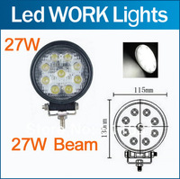 27W Flood Beam Car LED Work Light Truck Boat Camping DC 12V 24V LED Worklight Off Road Round Driving Working Lamp Free Shipping