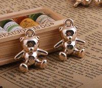 30pcs/lot Fashion Teddy Bear Rose Gold CCB Jewelry Pendant Charm DIY Accessories 25*22MM JE