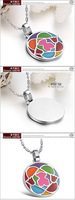 Freeshipping fashion 2014 newest enamel round design stainless steel necklace