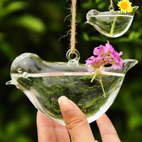 Free Shipping! Creative Freedom Bird Shape Hydroponic Hangable Flower Vase Glass Flower Pot  Wedding & Home Decor L size F1028
