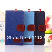30Pcs/Lot Book Folio Denim Leather Case Cover For Sony Xperia Z2 D6503 with Stand