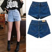 Free shipping high waist pockets shorts summer women's denim shorts casual plus size women's jeans shorts ladies' short pants
