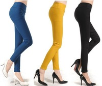 New 2014 Womens Leggings Ankle Length High Waisted Leggings for Women Solid High Waisted Pants Brown / Black Leggings Free Size