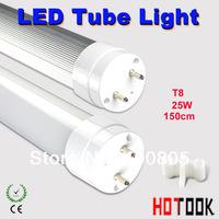 25w led tube lighting T8 220V Indoor lighting G13 2835 1500mm 150CM Lamp 85V~265V Round style warranty 2 years CE RoHS x 10 PCS