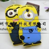 1pcs/lot Cute Cartoon Model Silicon Despicable Me Minion Case Silicone Back Cover For Samsung Galaxy S4 mini i9190