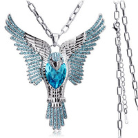 76 cm sweater chain eagle Wholesale white gold plated crystal fashion pendant necklace wedding jewelry for women 7M195