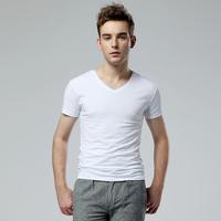 Summer men's clothing black V-neck male short-sleeve T-shirt slim male t-shirt