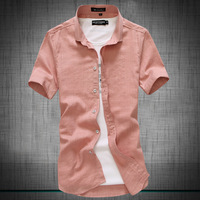 Men's linen shirt / 2014 county all-new material imported from Korea men's casual short-sleeved linen shirt free shipping