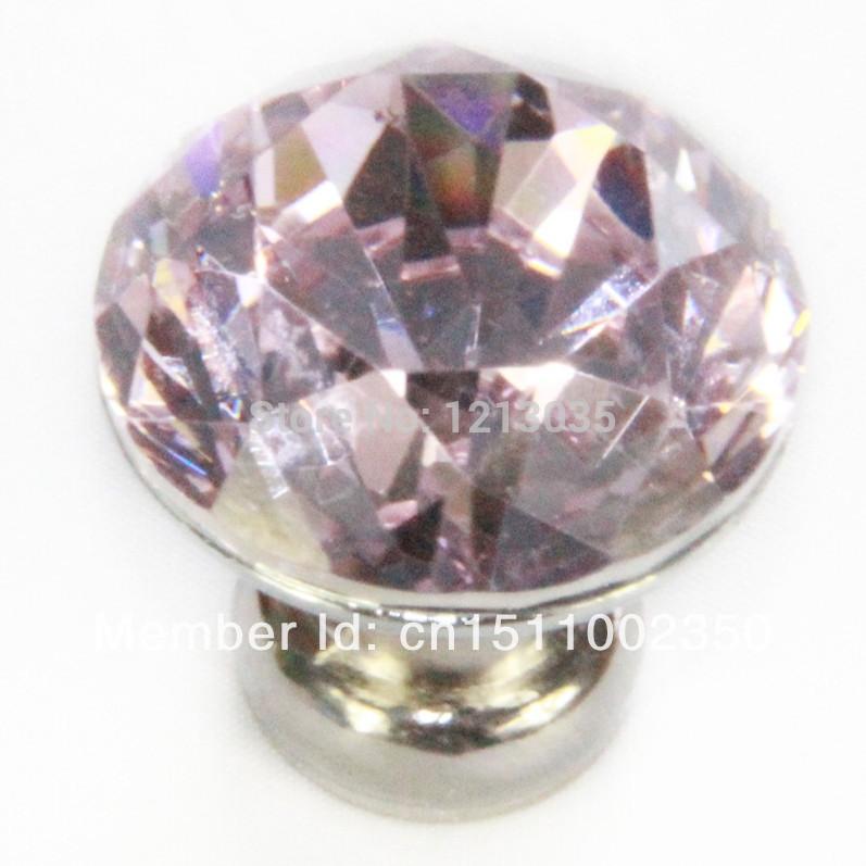 10pcs Pink 30mm Diamond Shape Crystal Glass Cabinet Knob Cupboard Drawer Pull Handle(China (Mainland))