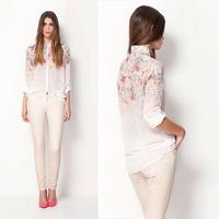 2014 New Arrive Popular Europe Style Women Chiffon Cloth, printing beautiful Blouse,Casual Lady's Summer Shirt, Free Shipping