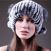 Cpa Free Shipping*Rex Rabbit Fur Cap With Fox , Natural Fur Cap, 100% Real Rex Rabbit Fur Hat* Whole Sale &Retail SU-14018