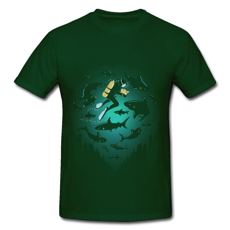 High School Football t Shirt Designs Designed Round Neck Men t Shirt Diving Under Water World Humor High School
