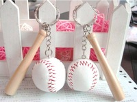 Mini handmade woven thread baseball keychain 2 piece set key ring key chain Large