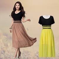 Women Plus Size L-3XL Color Matching Long Maxi Beach Chiffon Pleated Dress Free Shipping w947