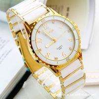 Hot Sale Paint Ordinary Ceramic & Steel Band Black Analog Quartz Wrist Watch,Luxury Fashion New Womens Crystal waterproof  watch