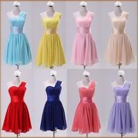 Bridesmaid formal dress short design sister 2014 bridesmaid dresses XS-XL Size Chiffon One Shoulder
