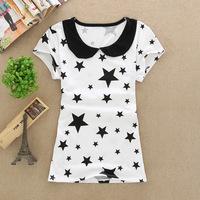 2014 summer  new fashion doll  collar t-shirt Korean women's T -shirt  female clothing wholesale free shipping