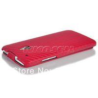 Carbon Fiber Leather Skin Flip Case Cover For HTC One mini