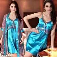 Silk sleepwear female sexy summer  lounge set  spaghetti strap nightgown female robe twinset