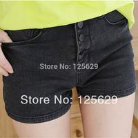 2014 New Summer Women Denim Shorts Jeans Pants Elastic High Waist Plus Size A Shorts,Blue And Black