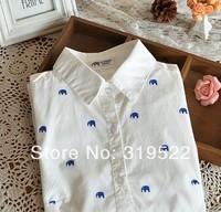 Elephants  horses  print kawaii  long sleeve white cotton women  blouse shirt