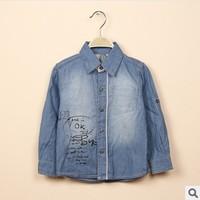 2014 new boys fashion long sleeve denim shirts with letters girls jean shirt children shirts for boys kids shirts 2t-8t
