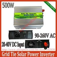 500W on grid solar inverter,24V(20-40V)/36V(22-45V) DC input 90-260V AC  MPPT pure sine wave solar inverter,free shipping