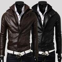 Free shipping!2014 New Men's clothes PU leather jacketsZipper placket collar Slim Short leather jacket men washing machine wagon