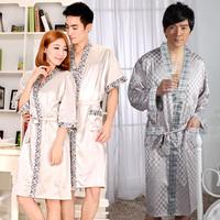 Spring and autumn summer lovers silk robe bathrobes sleepwear long-sleeve male women's set noble plus size lounge